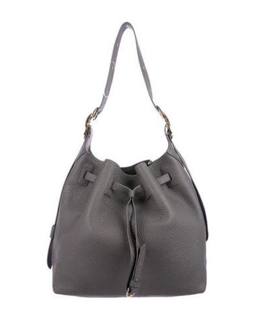 1f45c169bbc6 Ferragamo - Metallic Carla Drawstring Bucket Bag Grey - Lyst ...