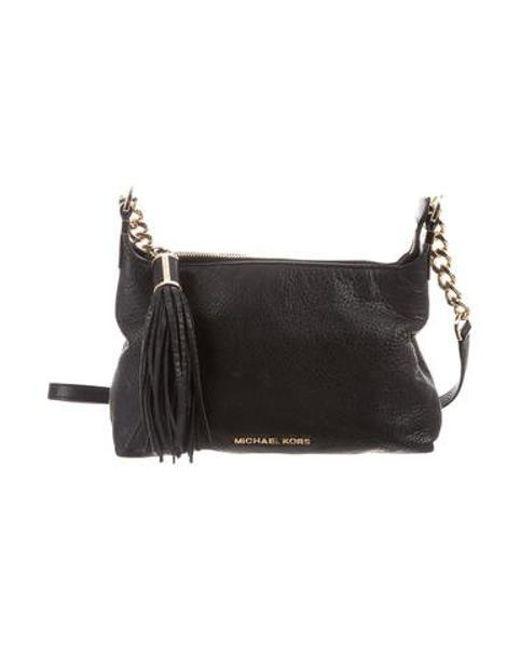 5182e89fc0d2 MICHAEL Michael Kors - Metallic Michael Kors Textured Leather Crossbody Bag  Black - Lyst ...
