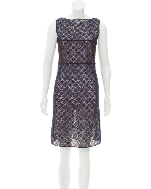 Louis Vuitton - Blue Guipure Lace Colorblock Dress Navy - Lyst