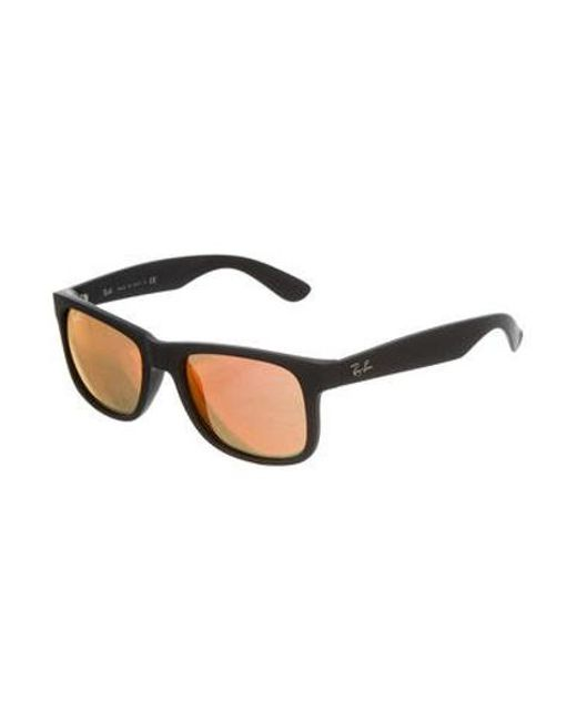 fb3d34195c ... Ray-Ban - Black Justin Mirrored Sunglasses for Men - Lyst ...