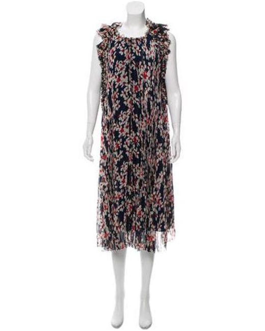 Carolina Herrera - Blue 2016 Floral Midi Dress Navy - Lyst