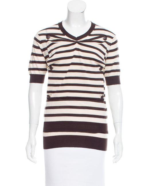 Louis Vuitton | Natural Striped Wool Top Tan | Lyst