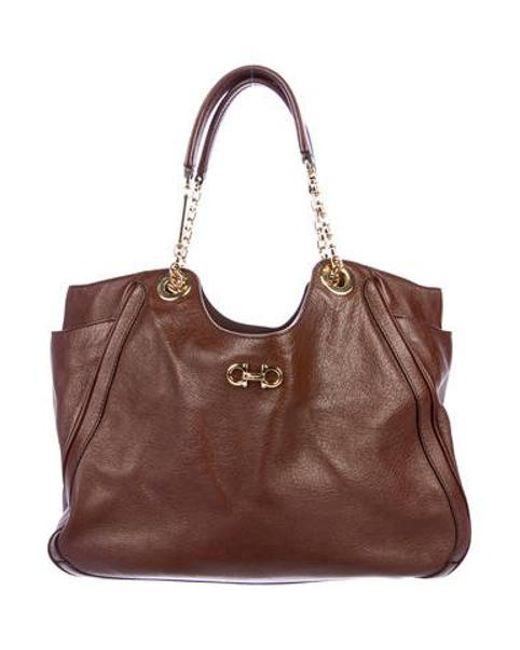 97b8b25cc9c2 Ferragamo - Metallic Medium Betulla Tote Brown - Lyst ...