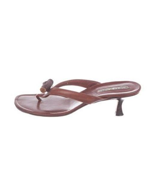 62ad00b68a94 Manolo Blahnik - Natural Embellished Thong Sandals Tan - Lyst ...