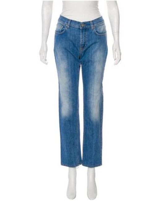 Acne - Blue Mid-rise Straight-leg Jeans - Lyst