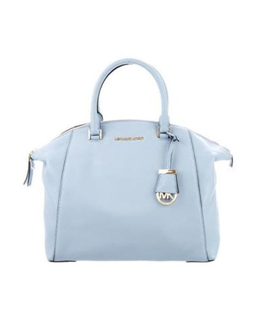 MICHAEL Michael Kors - Metallic Michael Kors Pebbled Leather Bag Blue - Lyst  ... ed19ed71926a4