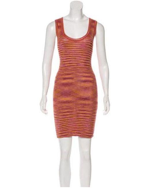 a65ee80958 M Missoni - Multicolor Sleeveless Knee-length Dress Orange - Lyst ...