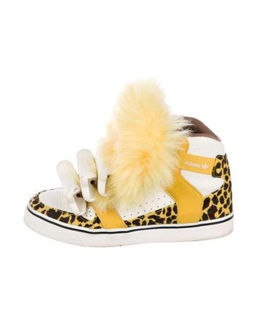 76b84b84fb5c Jeremy Scott for adidas - Yellow Shearling-trimmed High-top Sneakers - Lyst  ...