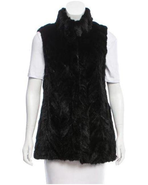 Michael Kors - Black Mink Mock Collar Vest - Lyst