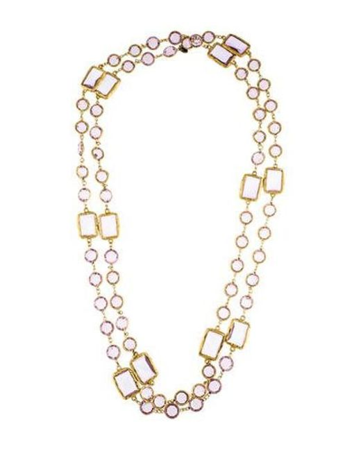 Chanel - Metallic Crystal Chicklet Sautoir Necklace Gold - Lyst