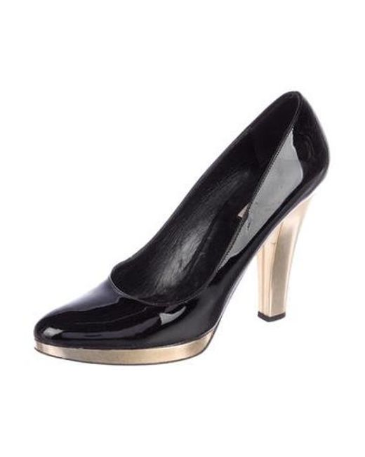e4b65f03387 ... Michael Kors - Black Patent Leather Round-toe Pumps - Lyst ...