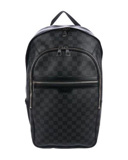lyst louis vuitton damier graphite michael backpack black in
