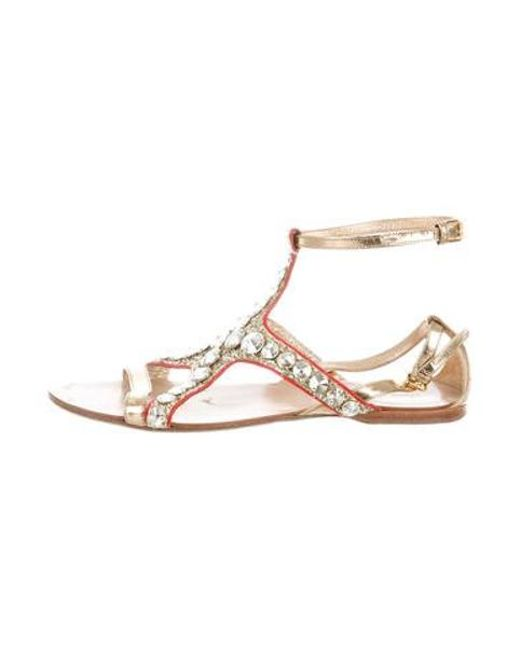f9a04a1bb Miu Miu - Metallic Miu Embellished Leather Sandals - Lyst ...