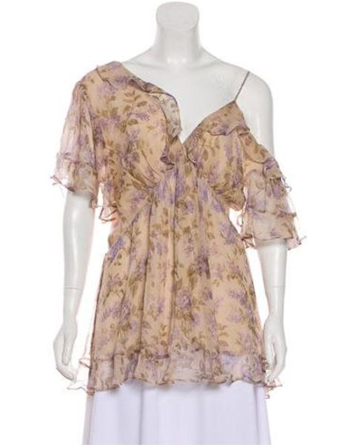 9c1ae4a5248c7 Zimmermann - Natural Silk Pleated Blouse Beige - Lyst ...
