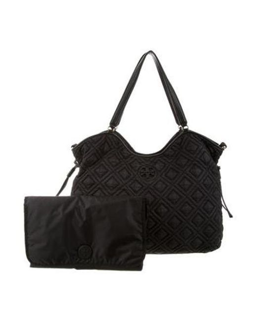 b92ce005041 Tory Burch - Metallic Quilted Diaper Bag Black - Lyst ...
