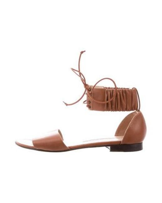cd8f5728801c Manolo Blahnik - Brown Leather Ankle-strap Sandals - Lyst ...