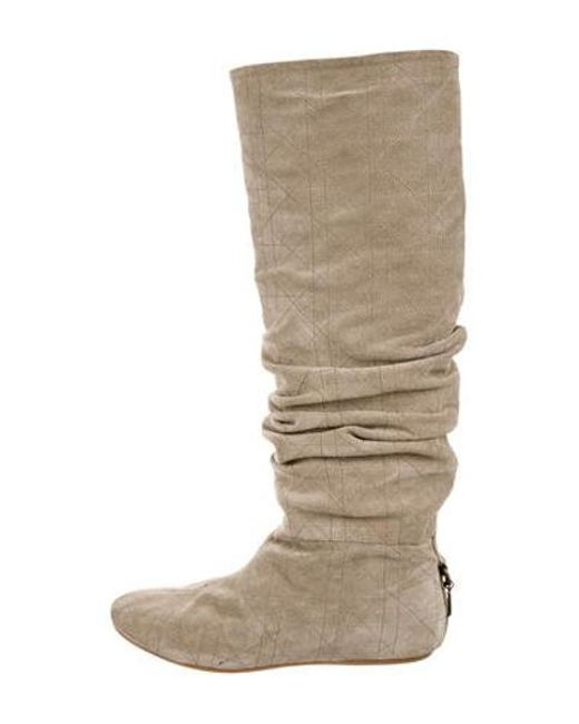 61db65b5078 Dior - Natural Suede Knee-high Boots Neutrals - Lyst ...