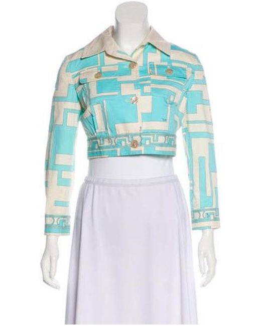 40796f76d148 Emilio Pucci - Blue Printed Cropped Jacket - Lyst ...
