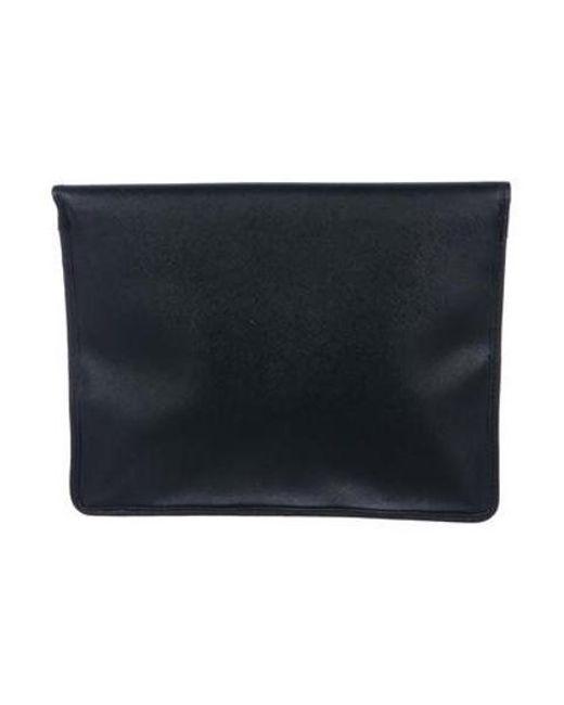 dd57deaffa5a ... Michael Kors - Metallic Leather Flap Clutch Black - Lyst ...