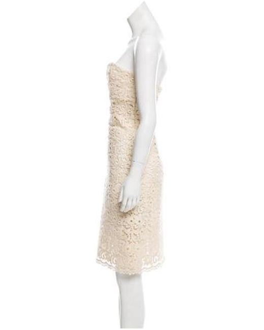 9205ee4bb39 ... Michael Kors - Natural Guipure Lace Strapless Dress Beige - Lyst ...