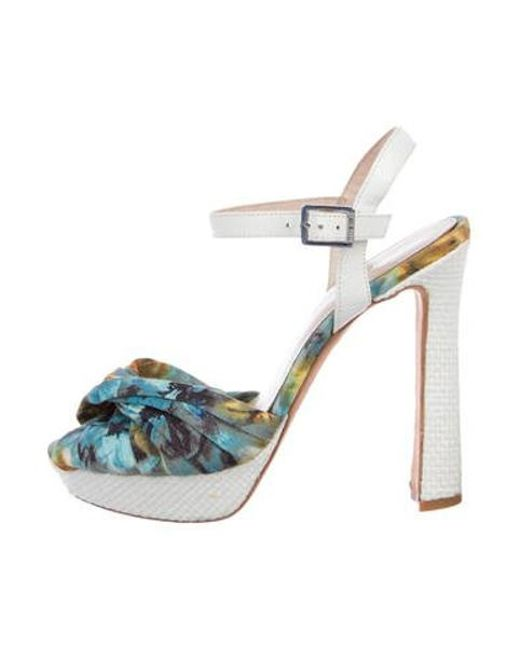 f5bf40f9f770 Karen Millen - Blue Platform Ankle Strap Sandals - Lyst ...
