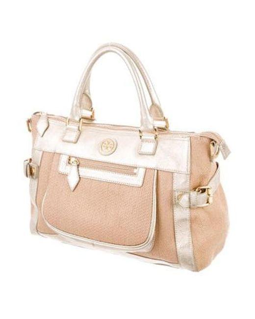 8f681dc392b4 ... Tory Burch - Metallic Woven Straw Handle Bag Tan - Lyst ...