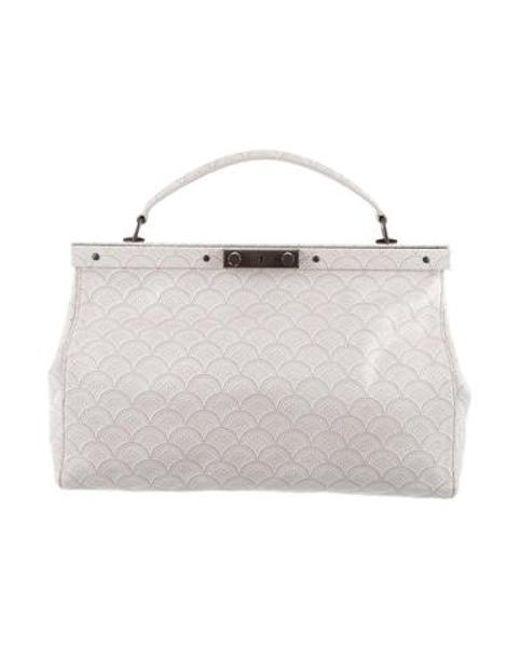 Tory Burch - Metallic Print Leather Bag White - Lyst ... caa34b5947620