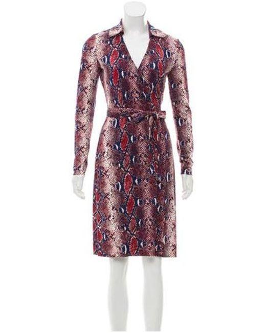 c79dcc91553d4 Diane von Furstenberg - Red Knee-length Silk Wrap Dress - Lyst ...