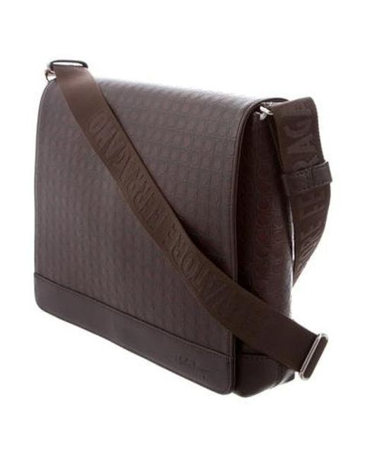 c92b442d35 ... Ferragamo - Metallic Gancini Embossed Messenger Bag Silver for Men -  Lyst ...