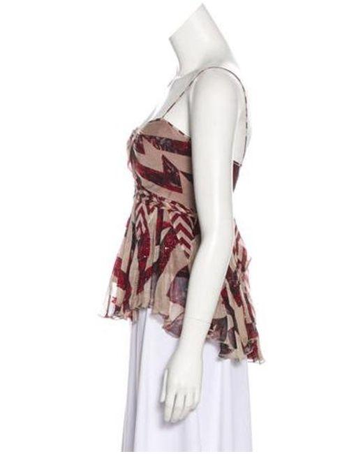 8b865b8cc9277 ... Diane von Furstenberg - Natural Silk Embellished Top Tan - Lyst ...