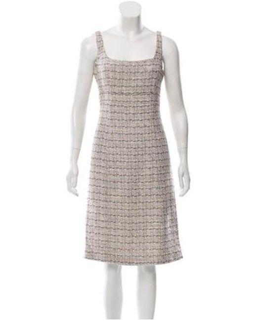 6522360a6db0 Lyst - Carolina Herrera Sleeveless Bouclé Dress Multicolor
