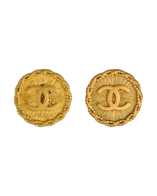Chanel   Metallic Cc Medallion Earrings Gold   Lyst