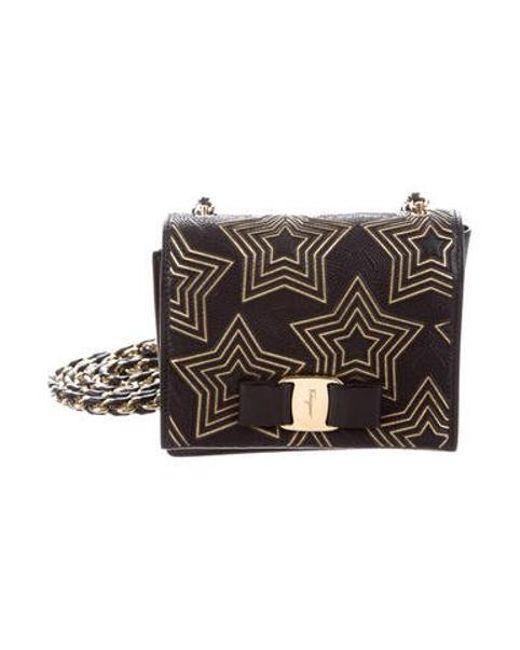 8f409e2c5a5e Ferragamo - Metallic Ginny Crossbody Bag Black - Lyst ...
