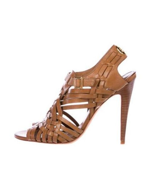 c9f31b65a835 Tory Burch - Brown Leather Caged Sandals - Lyst ...