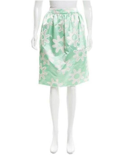 Rochas - Metallic Floral Flared Skirt W/ Tags Mint - Lyst