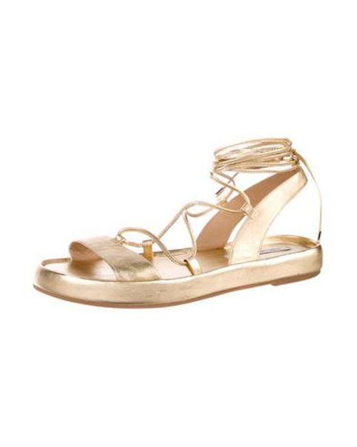 3bfe021cb60bb ... Diane von Furstenberg - Metallic Susie Sandals Gold - Lyst ...