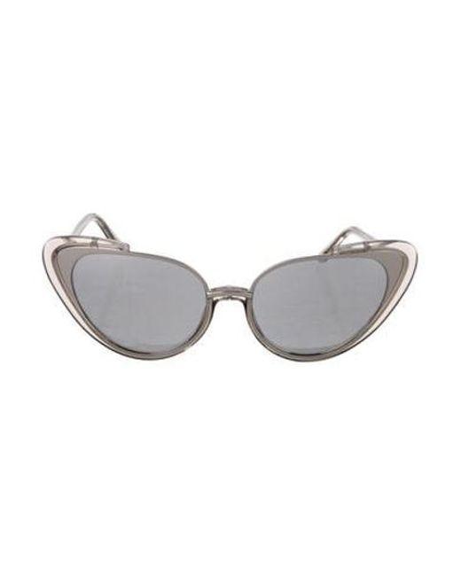 828a76c855 Linda Farrow - Metallic Reflective Cat-eye Sunglasses Clear - Lyst ...