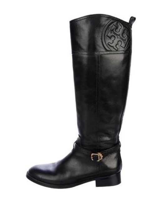 a1223e0523a Tory Burch - Metallic Leather Round-toe Knee-high Boots Black - Lyst ...