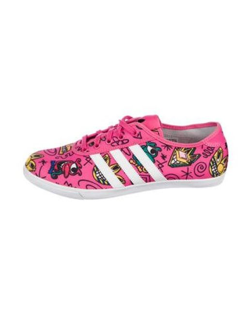 d6ca3bf1293d Jeremy Scott for adidas - Pink Printed Low Top Sneakers - Lyst ...