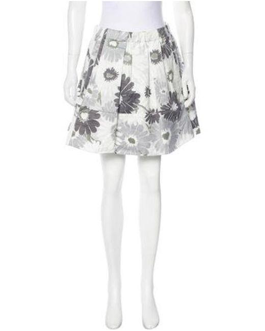 Marc Jacobs - Gray Floral Linen-blend Skirt White - Lyst