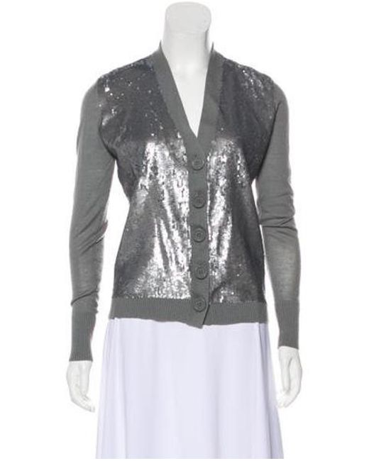 3342e7dae08b Tory Burch - Gray Sequin Embellished Wool Sweater Grey - Lyst ...