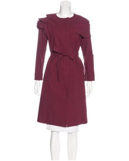 Nina Ricci - Red Ruffle-accented Knee-length Coat - Lyst