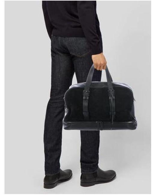 590403e6aade Lyst - Michael Kors Suede   Leather Satchel Black in Metallic for Men