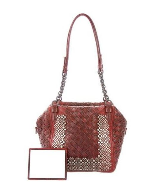 77c6a7a9ab Bottega Veneta - Red Studded Intrecciato Lizard Bag - Lyst ...