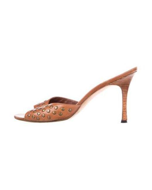 29fc92941af7 Manolo Blahnik - Metallic Studded Slide Sandals Brass - Lyst ...