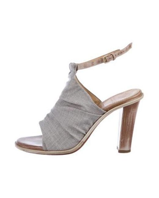 4a7ec754a6 Brunello Cucinelli - Gray Canvas Ankle Strap Sandals Grey - Lyst ...