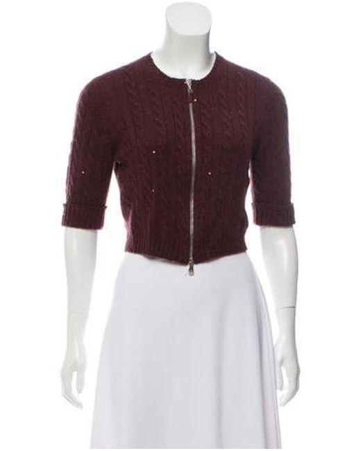 c210495f02 Brunello Cucinelli - Red Cashmere Short Sleeve Sweater Burgundy - Lyst ...
