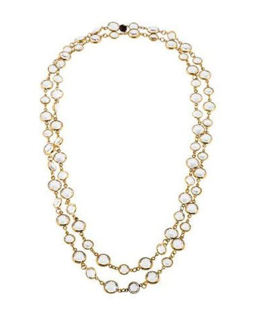 Chanel - Metallic Crystal Sautoir Long Necklace Gold - Lyst