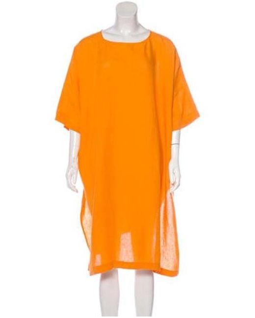 Eskandar - Linen Knee-length Shirt Dress Orange - Lyst