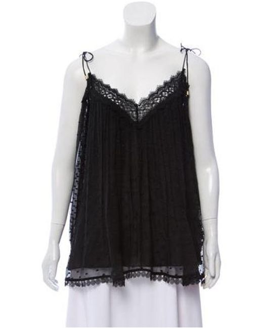 ef9465e2d91a38 Zimmermann - Black Silk Lace-trimmed Cold-shoulder Top - Lyst ...
